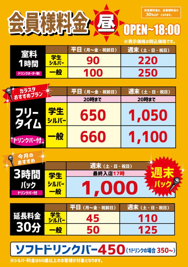 甲府アルプス店昼料金